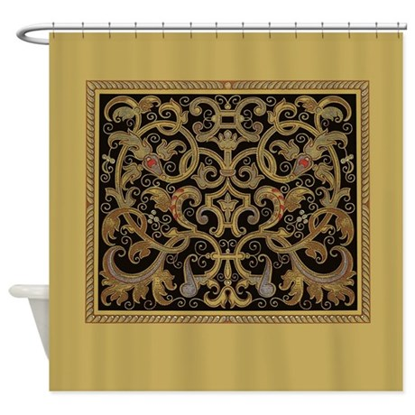 Ornate Black And Gold Shower Curtain