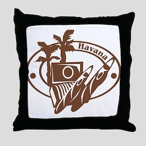 Havana Passport Stamp Throw Pillow