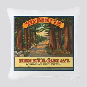 Yosemite Fruit Crate Label Woven Throw Pillow