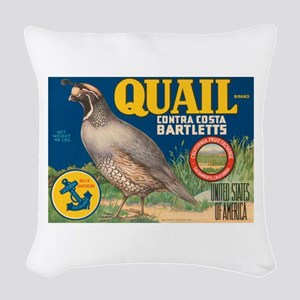 Quail Pear Fruit Crate Label Woven Throw Pillow