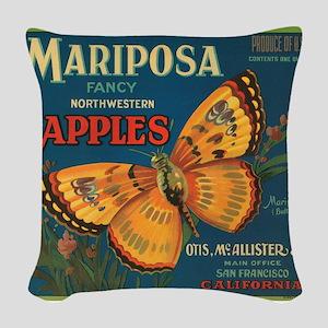Mariposa Butterfly Fruit Crat Woven Throw Pillow