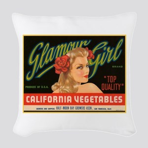 Glamour Girl Fruit Crate Labe Woven Throw Pillow