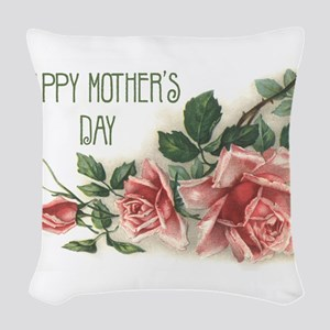 Mothers Day Roses Woven Throw Pillow