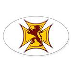 Royal Scottish Biker Cross Oval Sticker