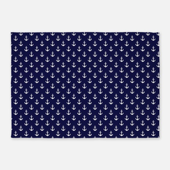 Blue Anchors Pattern 5'x7'area Rug