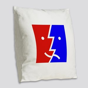 comedy tragedy square 01 Burlap Throw Pillow
