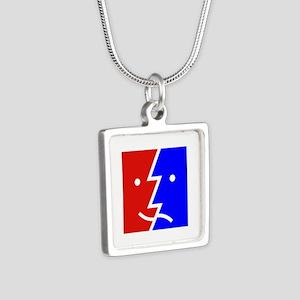 comedy tragedy square 01 Silver Square Necklace