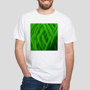 Green Yarn Ball - Crafty White T-Shirt