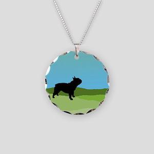 Blue Sky French Bulldog Necklace