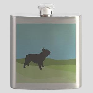 Blue Sky French Bulldog Flask