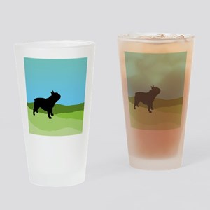 Blue Sky French Bulldog Drinking Glass