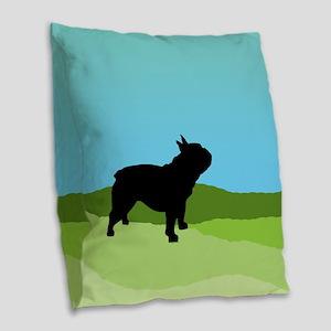 Blue Sky French Bulldog Burlap Throw Pillow