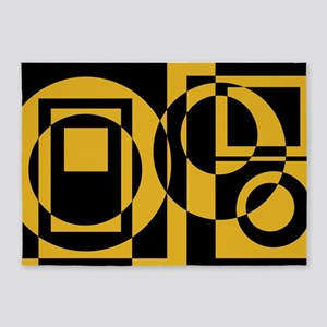Gold Squares And Circles 5'x7'area Rug