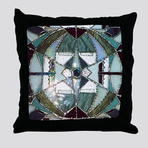 Abstract Mandala Stained Glass Throw Pillow