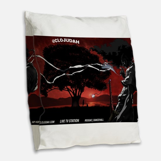 CLOJudah Samurai Burlap Throw Pillow