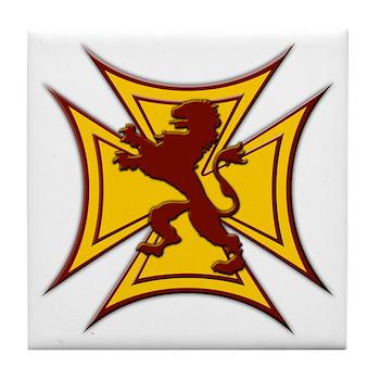 Royal Scottish Biker Cross Tile Coaster