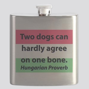 Two Dogs Can Hardly Agree Flask