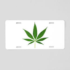 Pot Leaf Aluminum License Plate