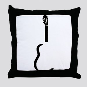 Black Acoustic Guitar Throw Pillow