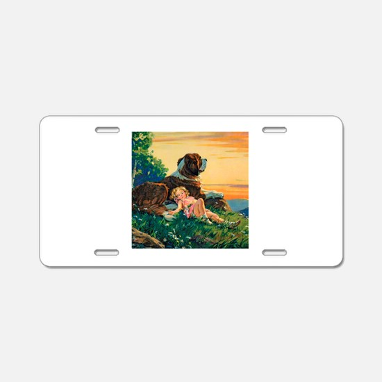 Saint Bernard Watercolor Aluminum License Plate