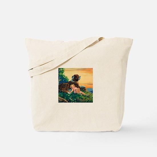 Saint Bernard Watercolor Tote Bag