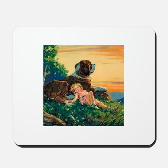 Saint Bernard Watercolor Mousepad