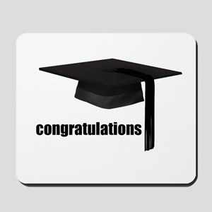 Black Congratulations Graduation Cap Mousepad