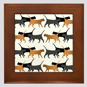Procession of cats pattern Framed Tile