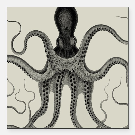 "Vintage Octopus Design Square Car Magnet 3"" x 3"""
