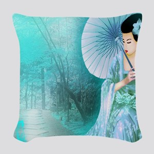 Geisha In Teal Woven Throw Pillow