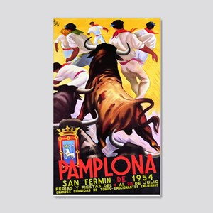 Vintage Pamplona Spain Travel 20x12 Wall Decal