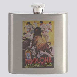 Vintage Pamplona Spain Travel Flask