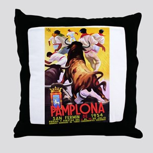 Vintage Pamplona Spain Travel Throw Pillow