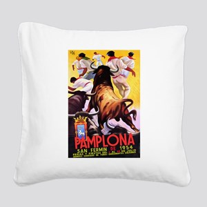 Vintage Pamplona Spain Travel Square Canvas Pillow