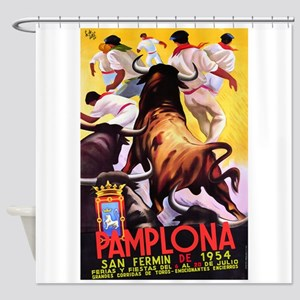 Vintage Pamplona Spain Travel Shower Curtain