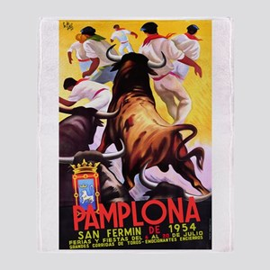 Vintage Pamplona Spain Travel Throw Blanket