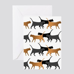 Procession Of Cats Pattern Greeting Cards