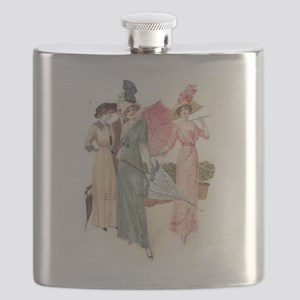 Triad Of Edwardian Ladies Flask