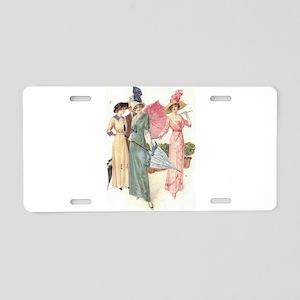 Triad Of Edwardian Ladies Aluminum License Plate