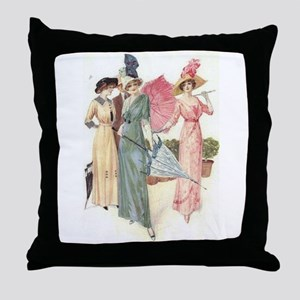 Triad Of Edwardian Ladies Throw Pillow