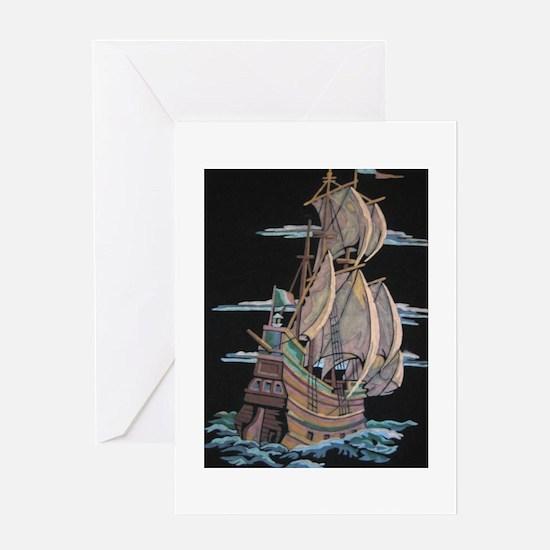 Galleon On Velvet Greeting Card