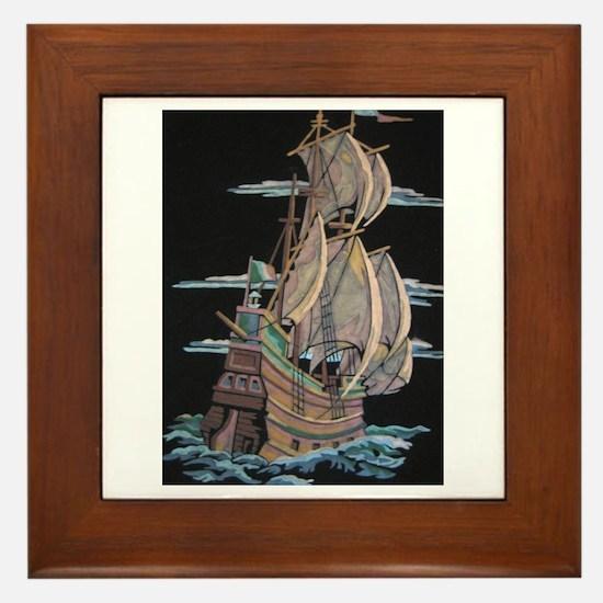 Galleon On Velvet Framed Tile