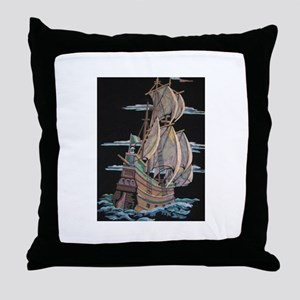 Galleon On Velvet Throw Pillow