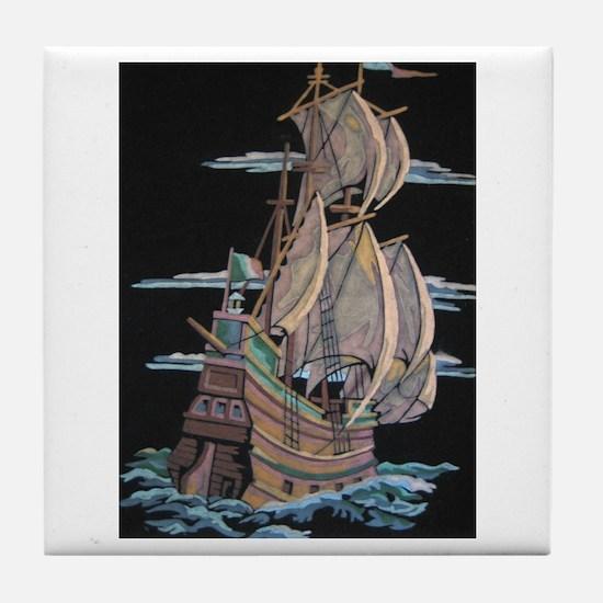 Galleon On Velvet Tile Coaster