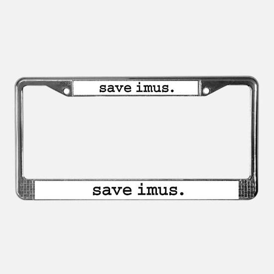 save imus. License Plate Frame