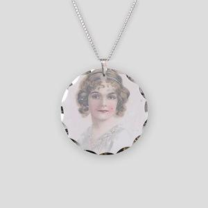Soft Pink Romantic Flapper Necklace Circle Charm