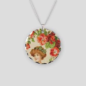 Romantic Edwardian Flapper Necklace Circle Charm