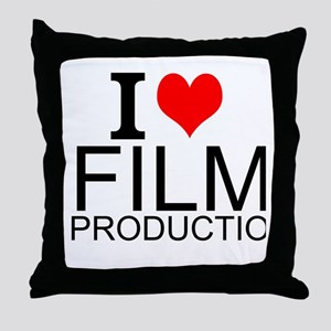 I Love Film Production Throw Pillow