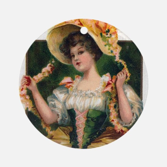 Octoberfest Lady Ornament (Round)