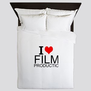 I Love Film Production Queen Duvet